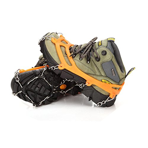 Anxinke Universal 8 Stainless Steel Spikes Grips Cleats Outdoor Ice Crampon, Portable Anti-Slip Ice And Snow Traction Cleats Winter Snowshoes Covers Hiking Shoes Nail Chain (Orange) (Football Cleat Display Case)