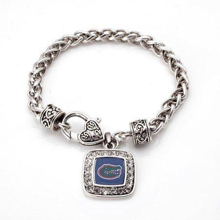 Florida Gators Classic Silver Plated Square Crystal Charm Bracelet Florida Gators Square
