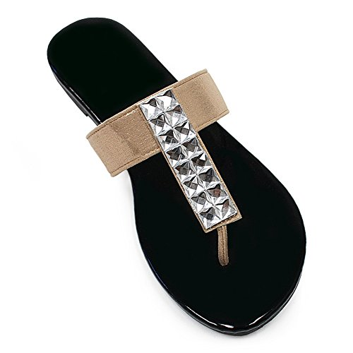 Best Helen Gold House Slippers for Women Jeweled Flat Heeled Embellished T Strap Flip Flop Trendy Sexy Easter Basket Stuffer Sale Non Skid Slipon Sandal for Young Ladies Woman Teen Girl (Size 6, Gold)