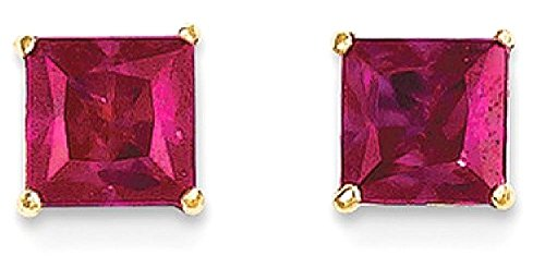 ICE CARATS 14k Yellow Gold Red Ruby 5mm Square Post Stud Earrings Fine Jewelry Gift Set For Women Heart by ICE CARATS