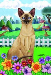 Cheap Siamese Cat Tomoyo Pitcher Spring Garden Flag 28″x40″