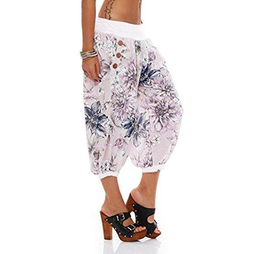 (Women Print Threaded Trousers with Loose Bandwidth Wide-Leg Capri Pants by-NEWONESUN)