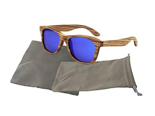 Askana Polarized Zebra Wood Wooden Mens Womens Sunglasses - Sale Sunglasses Wooden For