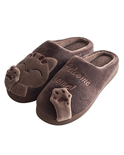 WILLIAM Womens Plus Soft Slippers amp;KATE Cute Warm at Cotton Causl Skid Slippers Cafe Home fUr5qf