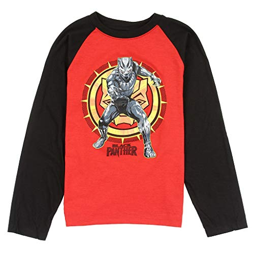 Black Panther Marvel Big Boys' Long Sleeve Raglan Tee, Red/Black M(10/12)