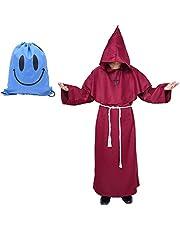 Disfraz de Monje Sacerdote Túnica Medieval Renacimiento Traje con Cruz para Halloween Carnaval