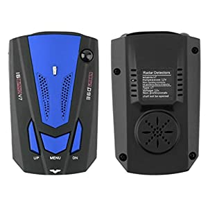 Coohole 360 Degree Car 16 Band V7 GPS Speed Police Safe Radar Detector Voice Alert Car Tools (Blue)