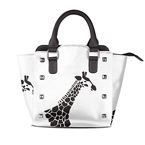 (Women's Soft Leather Rivet Shoulder Bag Black And White Giraffe Big Capacity Print PU Handbag)