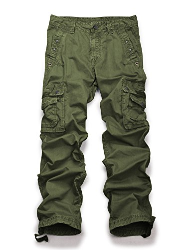 (Men's Casual Active Military Cargo Camouflage Combat Pants Trousers Army Green 42)