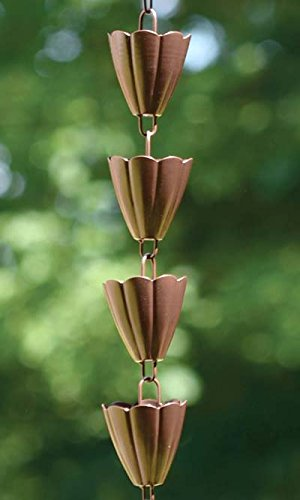 Ancient Graffiti Scalloped Rain Chains, Browned Copper Finish, Pack of 4
