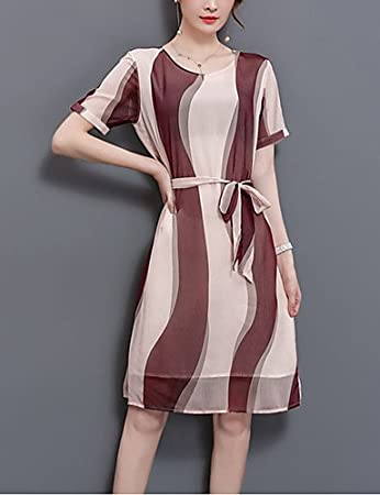 36118a45c702 GAOLIM Women Going Out Plus Size Loose Knee-Length Dress Print Round Neck  Short Sleeves