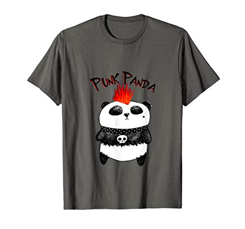 Punk Rock Panda Boy Girl funny Mohawk T-shirt -