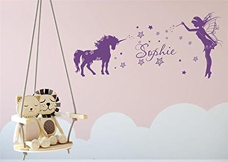 Amazon De Livingstyle Wanddesign Wandtattoo Wandaufkleber Kinderzimmer Mit Namen Einhorn Elfe 80