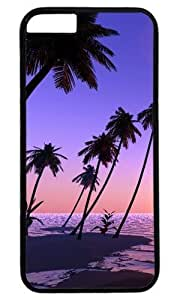 Generic Palm Tree Purple Ocean Beach DIY Hard Shell Black Best Designed Hard Case Cover for Iphone 6 Plus 5.5''
