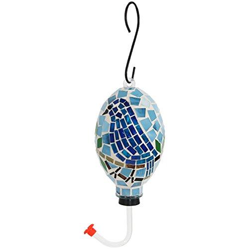 Sunnydaze Mosaic Glass Bluebird Outdoor Hanging Hummingbird Feeder, 6 Inch (Hummingbird Mosaic)