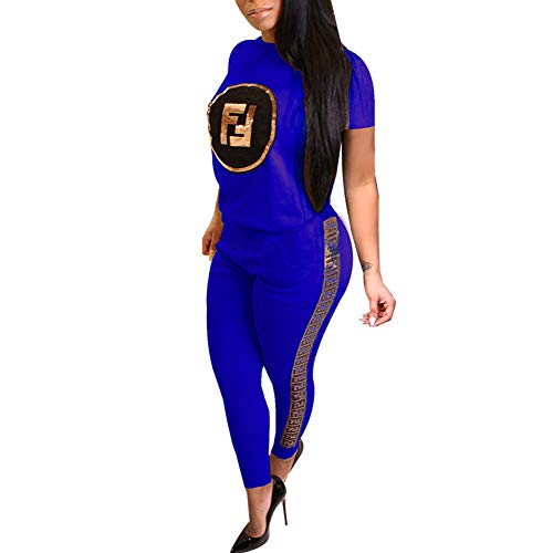 (ChengQi 2 Piece Outfits for Women Sequins Letter Printed Tracksuit Outfits,Short Sleeve Casual Sweatpants Suit Blue)