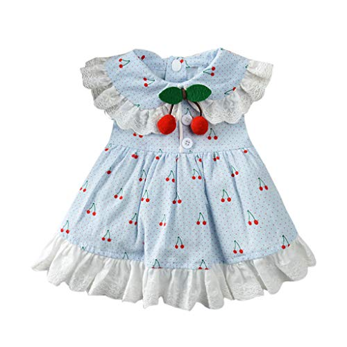 Sundie Dog Skirt Spring and Summer Breathable Cherry Print Skirt Clothing Tutu Cute Pet Costume (S, Blue)]()