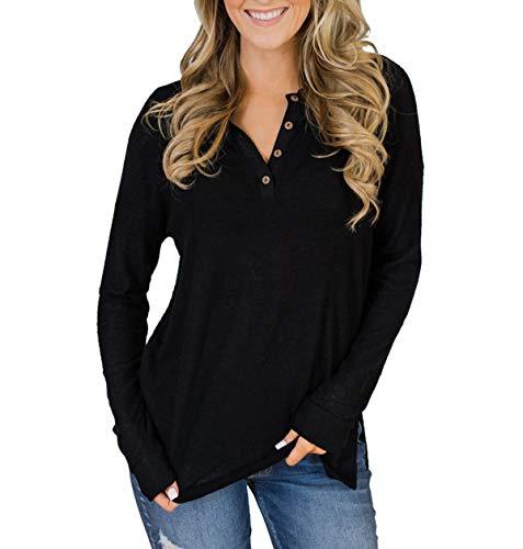 Printemps Fashion Slim et Casual Noir Blouse Shirts Automne Simple Longues Jeune Femme Tops Chemisier Pulls Hauts T Fashion Manches Tee Jumpers q5Cd8qwxg