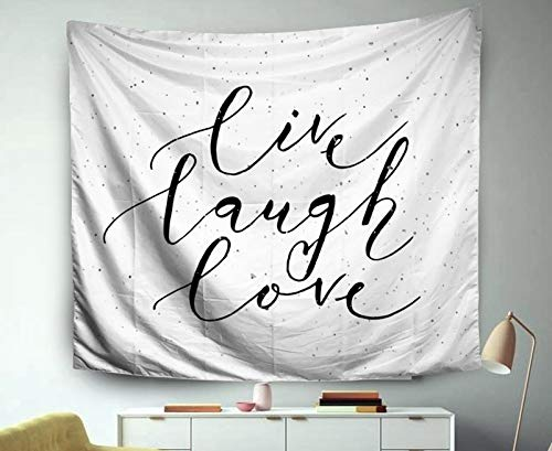 TOMWISH Popular Tapestry Wall Handing Inhouse for Bedroom and Home Décor Throw Sketched Live Laugh Love As Happy Valentines Day Badge Icon Romantic Card Invitation Banner Template 80x60 Inches - Card Templates Valentines