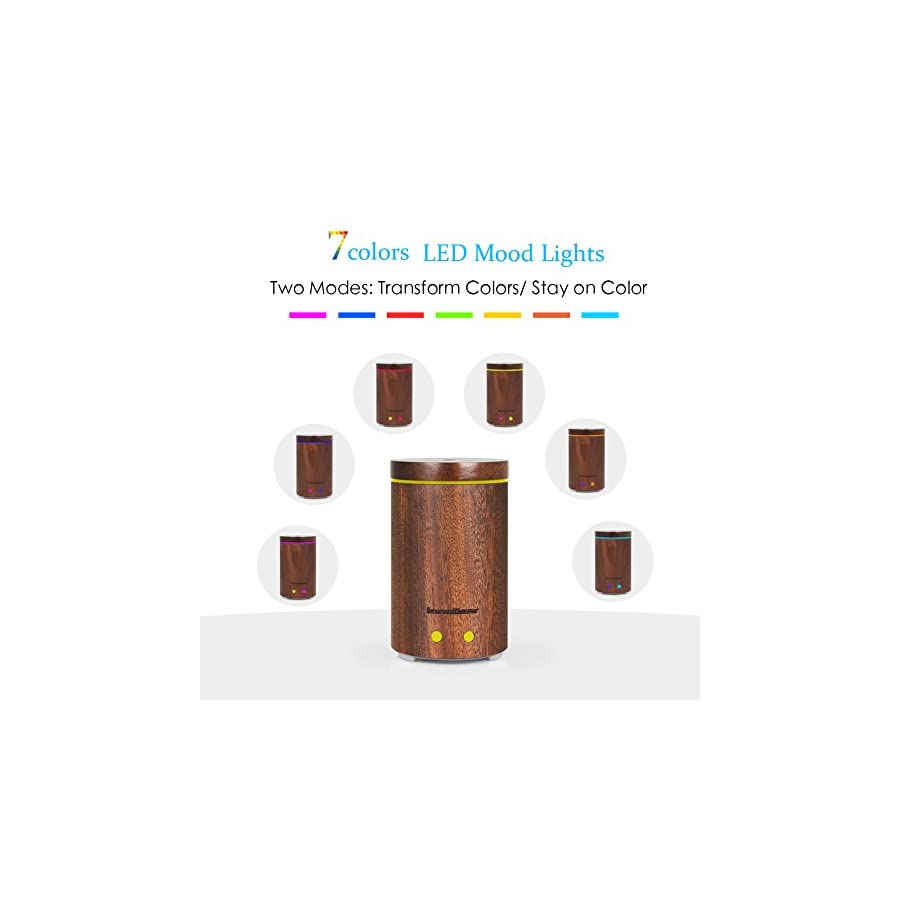 InnoGear Real Bamboo Essential Oil Diffuser Ultrasonic Aromatherapy Diffusers with 7 LED Colorful Lights and Waterless Auto Shut off