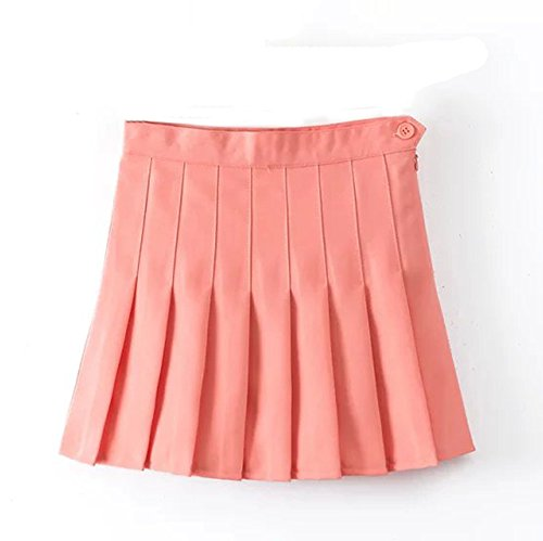 [Sankill Candy Color High Waist Pleated Tennis Skirt (XS, coral pink)] (Girl Halloween Costume Ideas 2016)