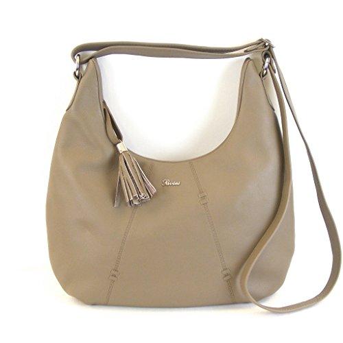 Pavini Damen Tasche Crossovertasche Berlin Leder taupe 13372 Reißverschluss