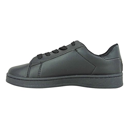 Pierre Dumas Womens Atlanta-1 Vegan Leather Lace-Up Fashion Sneakers Black Ab02Y2