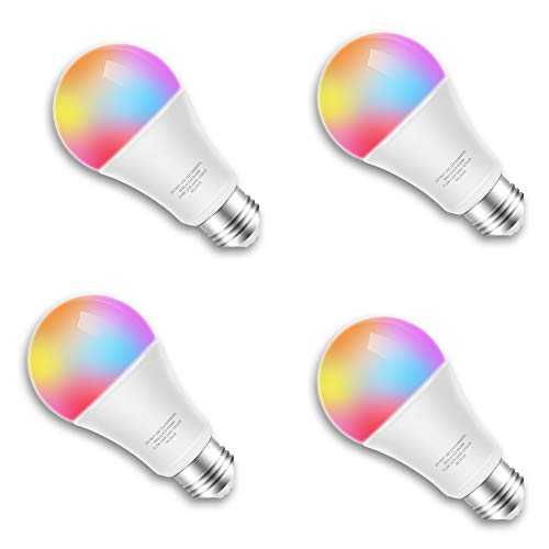 Smart LED Bulb WiFi Multicolor Light Bulb Compatible with Alexa, Echo, Google Home and IFTTT (No Hub Required),E26 A19 60W Equivalent RGBW Color Changing, white 2700K Dimmable (9.5W) UL listed(4pack) (Best Ifttt Google Home)