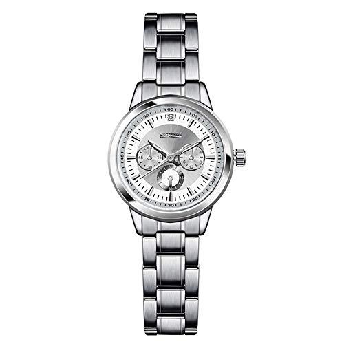 Reloj de pulsera elegante y luminoso de acero inoxidable para mujeres, reloj de pulsera para estudiantes, Blanco