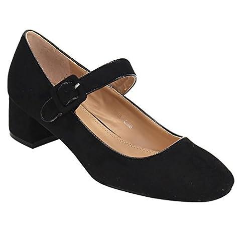Beston JA08 Women's Low Chunky Heel Mary Jane Pumps Shoes, Color:BLACK, Size:7.5 - Mary Jane Shoe Block Heel