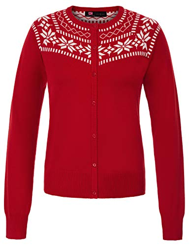 Christmas Sweater Women's Snowflake Icons Cardigan (S,Red)