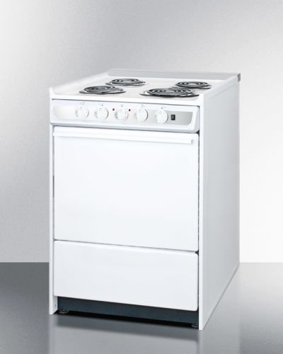 24'' Wide Slide-In Electric Range In White With Lower Storage Drawer by Summit Appliance