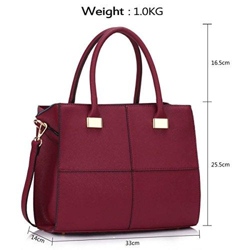 Xardi London design donne borse in pelle borse a tracolla da donna in stile college Girls Tote A4 Burgundy