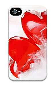 iPhone 4 4s Cases & Covers - Two Lovers Heart Custom PC Soft Case Cover Protector for iPhone 4 4s