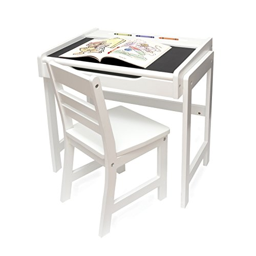 Lipper Childs Desk with Chalkboard Top and Chair Set, White Finish - Lipper Top Desk