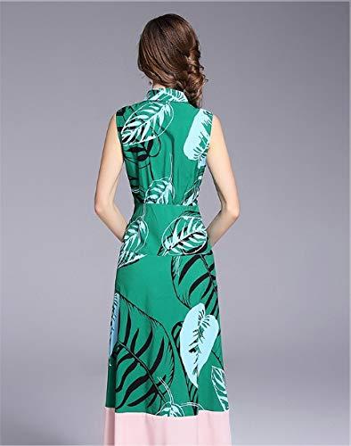 de del de la Contraste del de impresión la Mangas Mujeres Las de Green Solapa Color Isbxn Delgada la Moda sin Vestido Temperamento de nYwAcxZqt