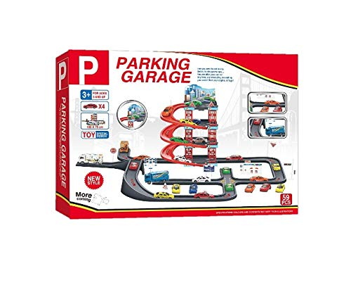 (MeeYum Pretend Play 4-Level Parking Garage with Cars, Truck and Accessories)