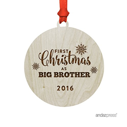 Andaz Press Laser Engraved Wood Christmas Ornament with Gift Bag, First Christmas as Big Brother 2017, Round, 1-Pack