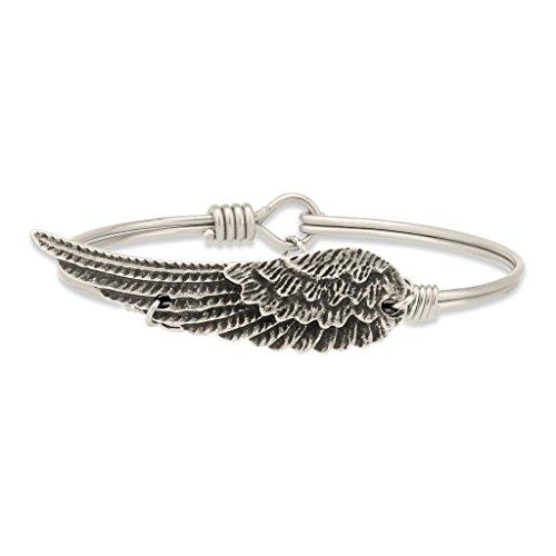 Luca + Danni Angel Wing Bangle Bracelet - Regular Size (Silver-Plated-Base)