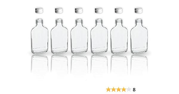 6 botellas de cristal 200 ml con tapa a rosca + 2 mini embudo/20 cl en botellas de vidrio para llenar/tapón de sample botellas para los aceites, ...
