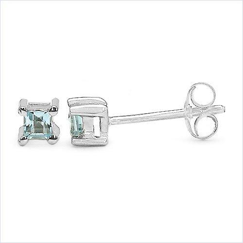 Bijoux Schmidt-Blue Square Topaz Boucles d'oreilles Argent et Rhodium-925-1-carats