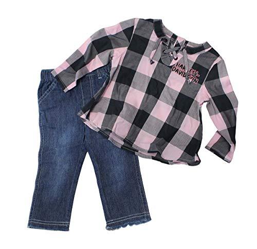 Harley-Davidson Girls Toddler B&S Glitter Print Woven Denim Pant Set ()