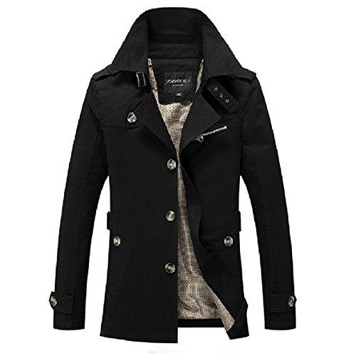 Plus Jacket breasted Black Size Lapel XINHEO Windbreaker Men Cardigan Single wqY4UAP8