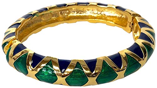 Kenneth Jay Lane, Two Tone/Contrast Enamel Gold Bangle Bracelet, Choose: Black/White OR Navy/Green (Navy/Green) (Kenneth Jay Lane Gold Bangles)