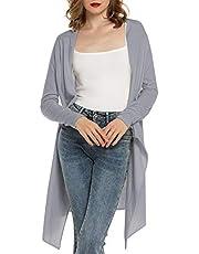 MessBebe Strickjacke Damen offene Cardigan Lange Ärmel leicht Strickcardigan Dünne Jacke mit Offenem Ausschnitt