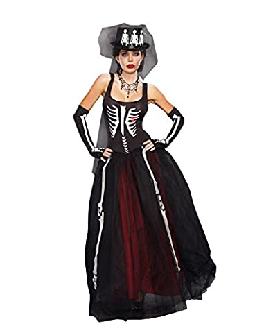 Dreamgirl Women's Ms. Bones Costume Set with Hat, Black, Large - Adult Dreamgirls Costume
