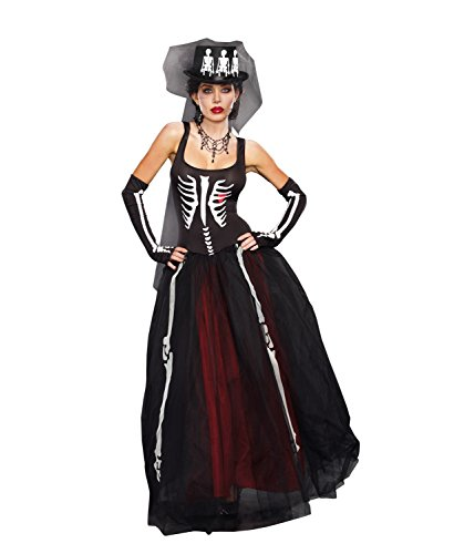 Day Of The Dead Costumes 2016 (Dreamgirl Women's Ms. Bones Costume Set with Hat, Black, Large)