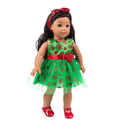 Denzar Doll Clothes for 18 inch,Doll Clothes Outfits for 18 Inch America Girl, Alive Baby Doll Dress Clothes Outfits Costumes Dolly Cutely Doll Clothes-Prefect for Taking Photo and Daily Wear (Green) ()