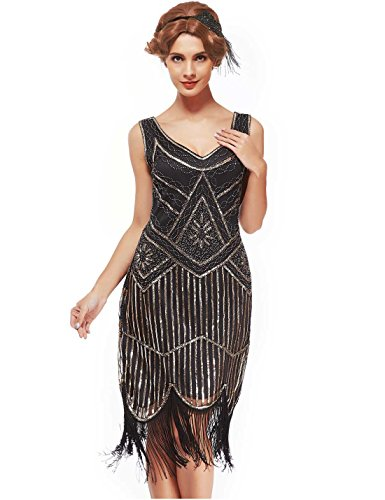 Uniq Sense xs-3xl Women s Vintage Roaring 20s Gatsby Dresses (Light Gold 19e195b8338a