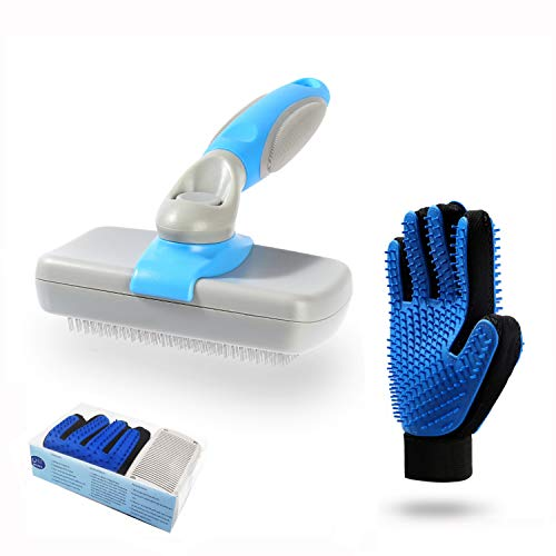 Beiker Dog Grooming Kit include Self Cleaning Slicker Brush and Deshedding Gloves for Dogs and Cats, Pet Shedding Tool Set to Removes Undercoat and Loose Hair Easily for Small to Large Long Haired Cat